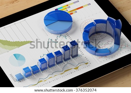 Diagram analysis with many colorful charts on a tablet computer (3D Rendering) - stock photo