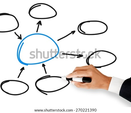 Diagram. Business hand writing input and output with center diagram - stock photo