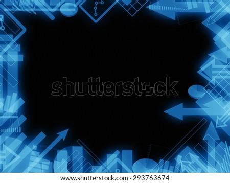 diagram chart dark background frame border illustration - stock photo
