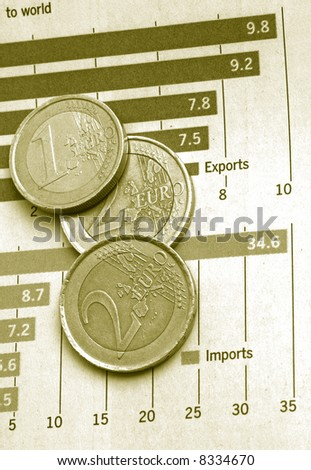 Diagram chart with coins, business and finance concept