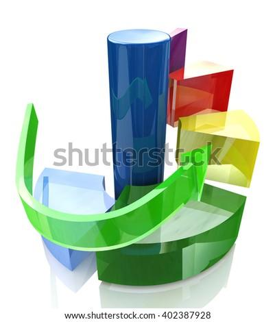 Diagram levels, action steps concept.3D Illustration - stock photo