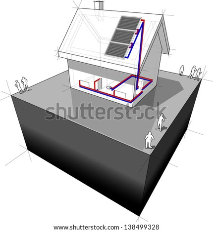 diagram of a detached house heated by solar panels - stock photo