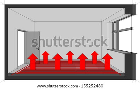 Diagram of a underfloor heated room with heat distribution   - stock photo