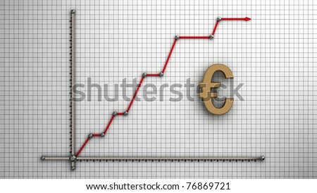 Diagram of business gold euro - stock photo