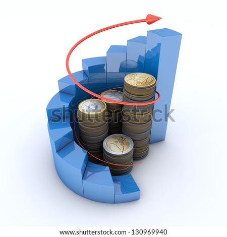 Diagram of golden coins with a arrow - stock photo