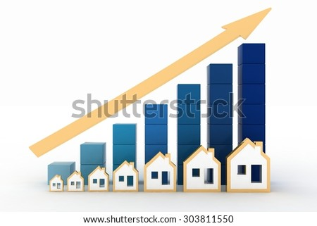 Diagram of growth in real estate prices - stock photo