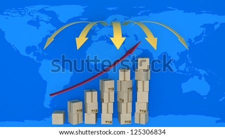 Diagram of increasing exports in world trade. 3d concept of logistics - stock photo