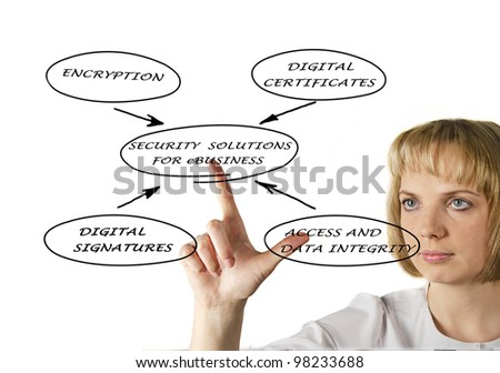 Diagram of security solutions for eBusiness - stock photo