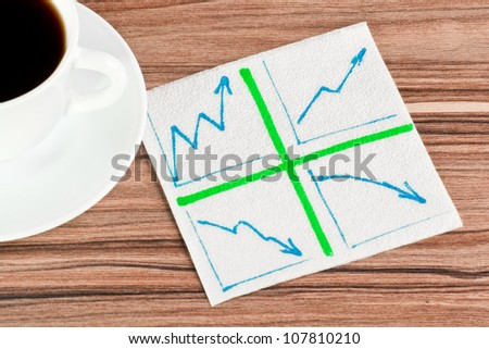 Diagram of the arrows on a napkin and cup of coffee - stock photo