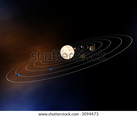 Diagram of the planets in the Solar System - stock photo