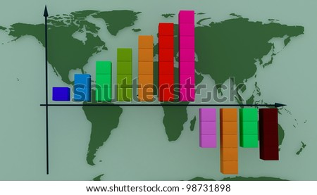 diagram on a background the maps of the world - stock photo