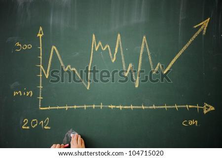 Diagram on a blackboard - stock photo