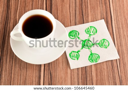 Diagram on a napkin and cup of coffee - stock photo