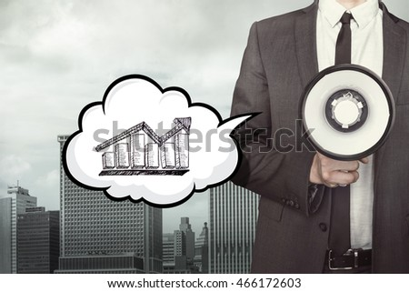 Diagram on speech bubble with businessman and megaphone