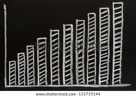 diagram sketched on blackboard - stock photo