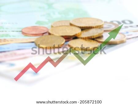 diagram upwards with color gradient - stock photo