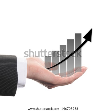 diagram with black columns and  arrow on white background - stock photo