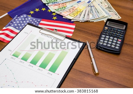 diagram with money, calculator, pen on table