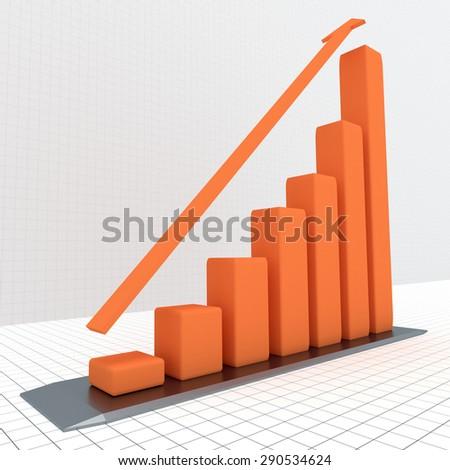 Diagram with the growing progress. Business concepts - stock photo