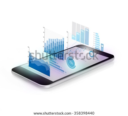 Diagrams projecting from mobile phone - stock photo