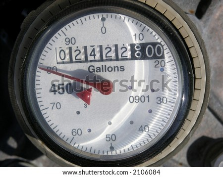 Dial on a water meter