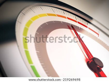 Dial with segments from green to red symbol of risk control or limit - stock photo