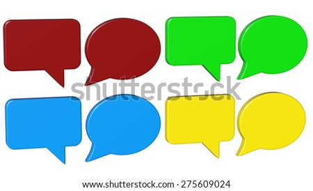 dialog boxes red green blue and yellow 3D rendering with clipping path - stock photo