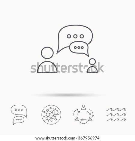 Dialog icon. Chat speech bubbles sign. Discussion messages symbol. Global connect network, ocean wave and chat dialog icons. Teamwork symbol. - stock photo