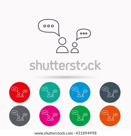 Dialog icon. Chat speech bubbles sign. Discussion messages symbol. Linear icons in circles on white background. - stock photo