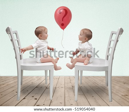 Dialog of two babies and red balloon