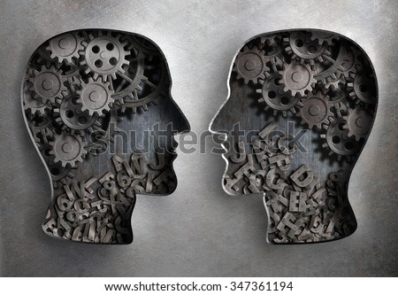 dialog or communication, information and knowledge exchange - stock photo