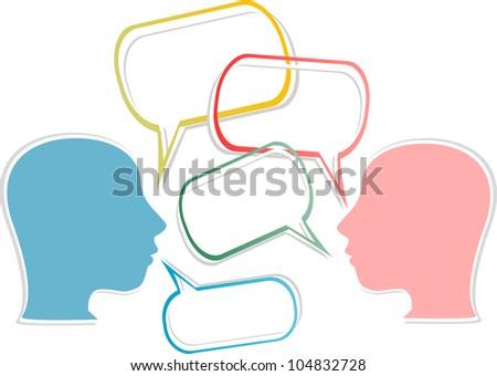 dialogue concept. human head with speech bubbles - raster - stock photo