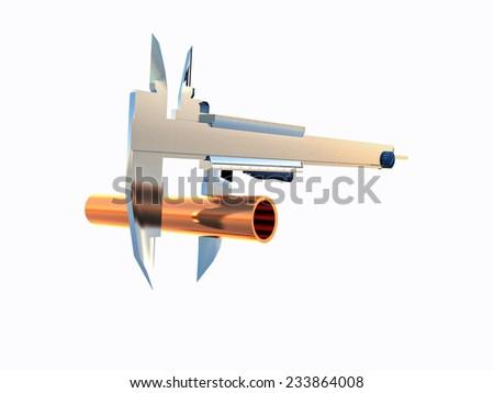 diameter measurement with calipers - stock photo