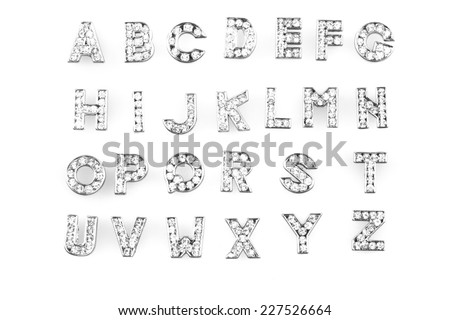 diamond alphabet set isolated on the white background - stock photo
