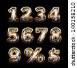 Diamond and gold digits set- raster version - stock photo