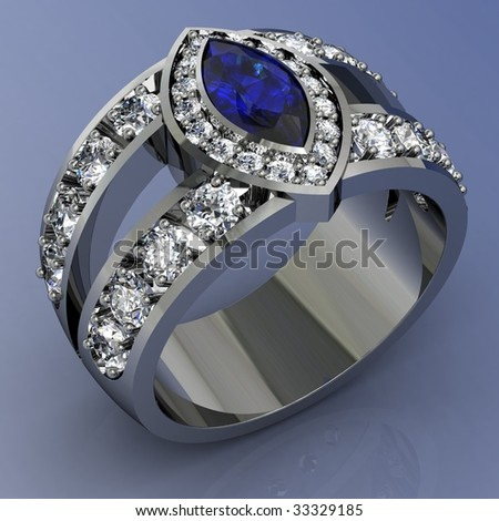 Diamond and sapphire engagement wedding ring on white background