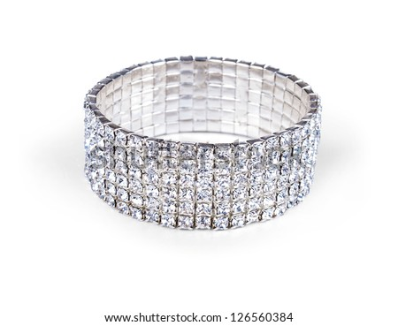 Diamond bracelet isolated on white - stock photo