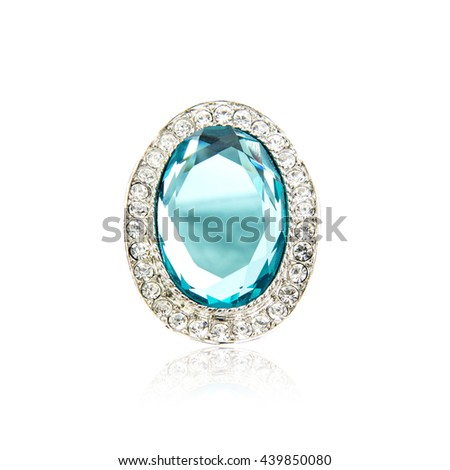 Diamond brooch isolated on white
