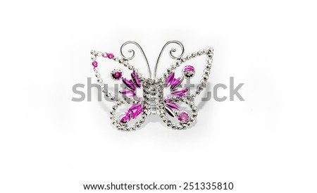 Diamond butterfly brooch. Isolated on white background. Copy space - stock photo