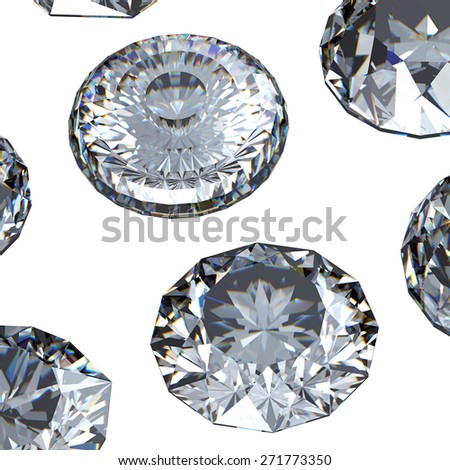 Diamond. Collections of jewelry gems on white - stock photo