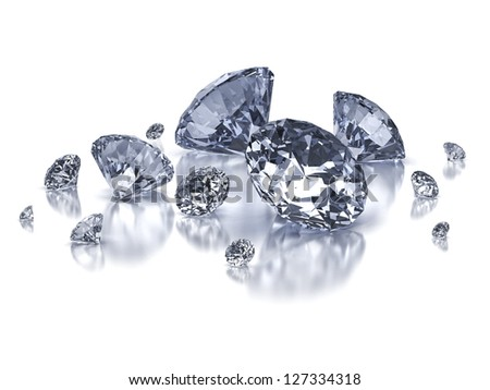 Diamond composition on white background isolated with clipping path - stock photo