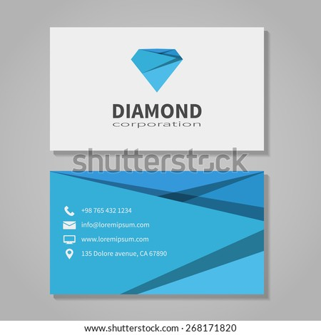 Diamond corporation business card template modern stock illustration diamond corporation business card template in modern style office and visit phone number cheaphphosting Gallery
