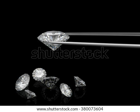 diamond 3d on black background - stock photo