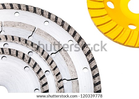 Diamond disks for concrete cutting and abrasion - stock photo
