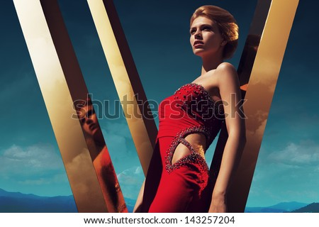Diamond Dress on Golden Sky - stock photo