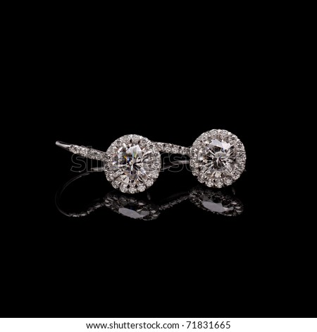 Diamond earrings - stock photo