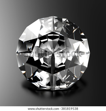 Diamond from front view, on dark background - stock photo