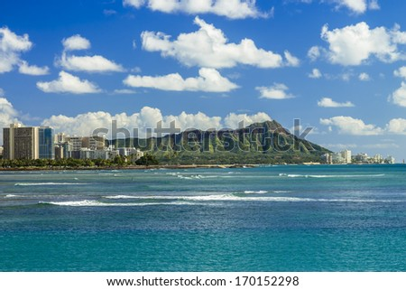 Diamond Head and Waikiki on the south shore of Oahu, Hawaii - stock photo