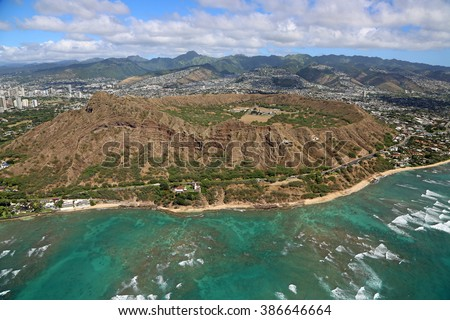 Diamond Head Crater - view from helicopter - Oahu, Hawaii - stock photo