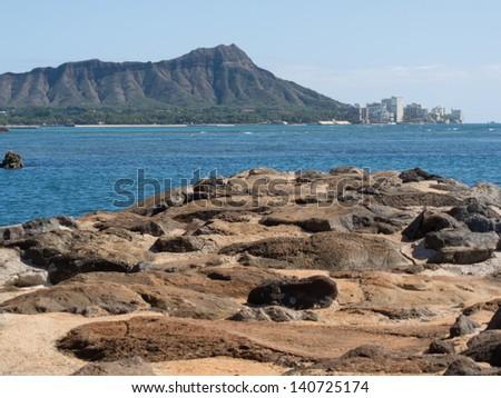 Diamond Head from Waikiki - stock photo